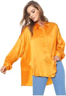 Camisa Seda Ampla Color Laranja