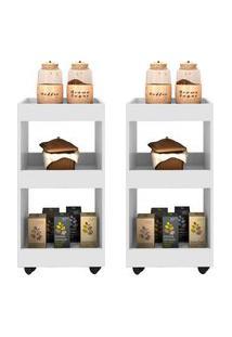 Kit 2 Armários Multiuso Para Cozinha Seul Com Rodízios Branco - Mpozenato