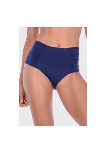 Calcinha Summer Soul Hot Pants Franzido Azul Marinho
