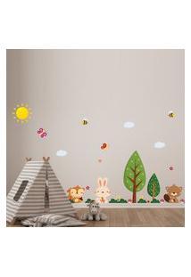 Adesivo De Parede Infantil Árvore Animais Outono
