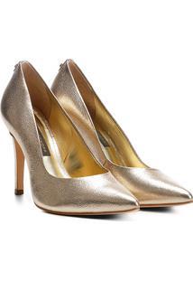 Scarpin Couro Jorge Bischoff Salto Alto Metalizado - Feminino-Ouro