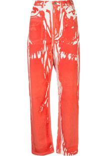 Anntian Calça Jeans Reta Cintura Alta Vermelha - Vermelho