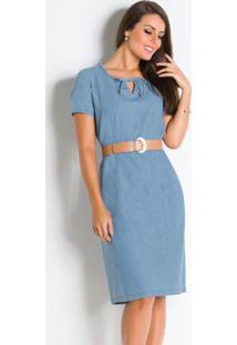 Vestido Jeans Azul Claro Moda Evangélica