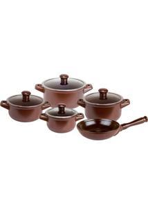 Conjunto De Panelas Em Cerâmica Refratária Atóxica 5 Peças Chocolate Ceraflame