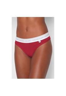 Calcinha Calvin Klein Underwear Fio Dental Basic Vermelha