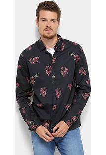 Camisa Acostamento Manga Longa Floral Masculina - Masculino-Preto
