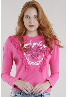 Blusão Em Moletom Com Crochê Pink