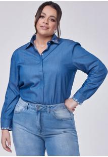 Camisa Feminina Jeans Com Bordado Neide