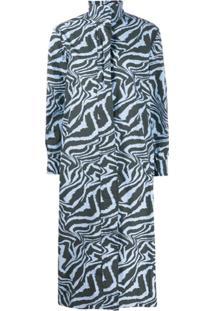 Ganni Vestido Mangas Longas Com Estampa De Tigre - Azul