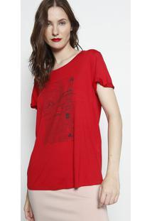 Camiseta Com Inscriã§Ãµes - Vermelha & Preta - Forumforum