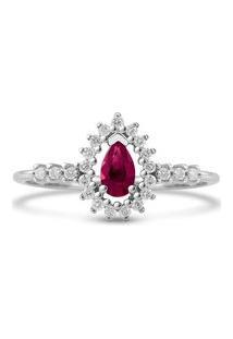Anel Gota Ouro Branco Rubi E Diamantes