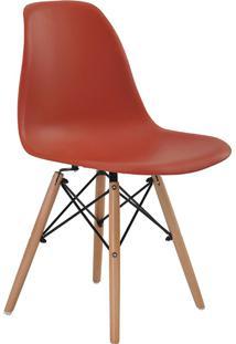 Cadeira Sem Braço Pp Base De Madeira Eiffel -Rivatti - Laranja