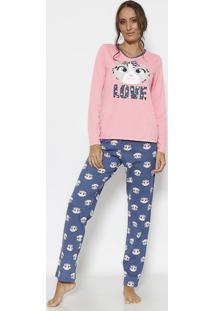 "Pijama Oncinha ""Love""- Rosa Claro & Azul Marinho- Pupuket"