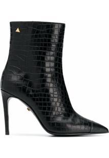 Grey Mer Crocodile-Effect Ankle Boots - Preto