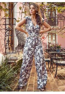 Macacão Pantalona Floral Cinza Com Amarração