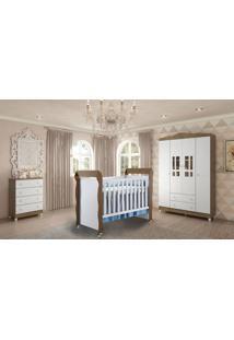 Dormitório Guarda Roupa Ariel 4Portas/Cômoda 4 Gavetas E Berço Mirelle Amadeirado Carolina Baby - Tricae