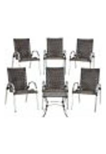 Conjunto 6 Cadeiras E Mesa De Centro Colômbia Aluminio Área Jardim Varanda Fibra Sintetica Pedra Ferro