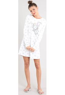 Camisola Feminina Dumbo Estampada Manga Longa Off White