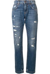 Dolce & Gabbana Calça Jeans Com Detalhes Puídos - Azul