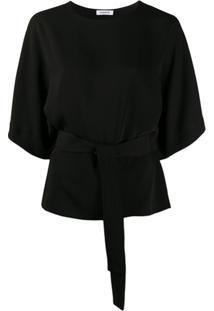 P.A.R.O.S.H. Blusa Lisa Com Cinto - Preto