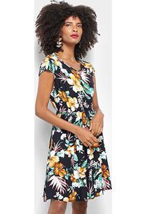 Vestido Curto Pérola Evasê Floral - Feminino-Marinho+Dourado