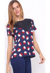 Blusa Maria Filó Perfuros Feminina - Feminino-Azul+Vermelho