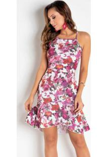 Vestido Floral Vermelho Com Babado Transpassado
