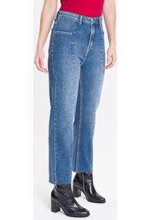 Calça Jeans Feminina Five Pockets Reta Cintura Alta Azul Médio Calvin Klein - 34