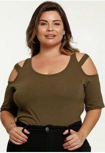 Blusa Feminina Open Shoulder Strappy Plus Size