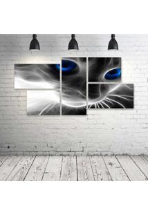 Quadro Decorativo - Cat-Neon-Face - Composto De 5 Quadros