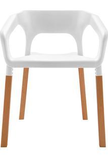 Cadeira Em Plastico Pp E Madeira De Faia - P&W-001 - Branca - Orb
