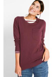 Suéter De Tricô Com Bolso Bordô