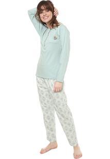 Pijama Pzama Botões Verde/Off-White