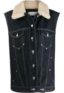 Chloé Shearling Collar Denim Gilet - Azul