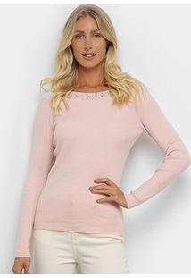 Suéter Tricot Facinelli Hotfix Feminino - Feminino-Rosa Claro