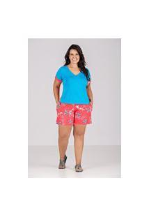 Conjunto De Blusa E Bermuda, Em Malha, Tecido Plano - Plus Size Vermelho