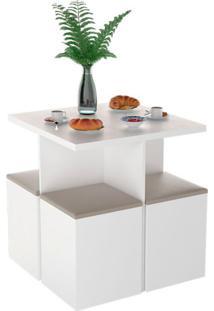 Conjunto De Mesa De Cozinha Com 4 Lugares Ayla Corino Branco E Bege