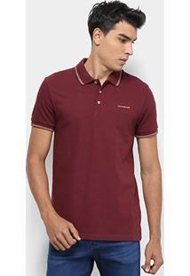 Camisa Polo Calvin Klein Relevo Masculina - Masculino-Bordô