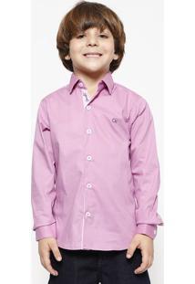 Camisa Com Bordado - Lilás & Azul Marinhoogochi