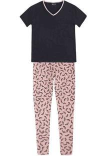 Pijama Feminino Em Malha De Algodão Com Calça Estampada