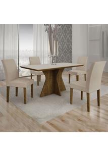 Conjunto De Mesa De Jantar Creta I Com 4 Cadeiras Olímpia Veludo Off White E Palha