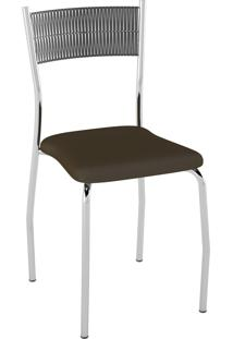Kit C/ 2 Cadeiras Encosto Preto Assento Cacau Pozza
