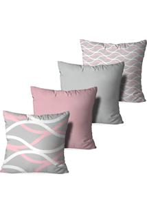Kit 4 Capas Love Decor Para Almofadas Decorativas Abstrato Waves Multicolorido Rosa