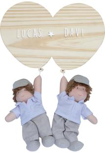 Enfeite Maternidade Gêmeos Bexigas Irmãos Meninos Nome Bebê Potinho De Mel - Kanui