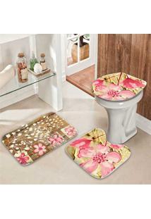 Jogo Tapetes Para Banheiro Beautiful Pink