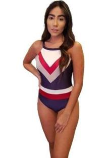 Body Recorte Tricolor - Feminino-Azul