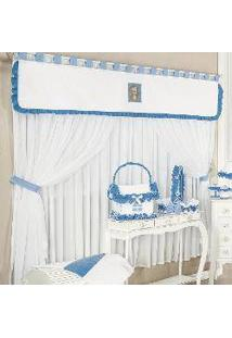 Cortina Para Quarto De Bebê Menino Safari Branco - Azul 2,00M
