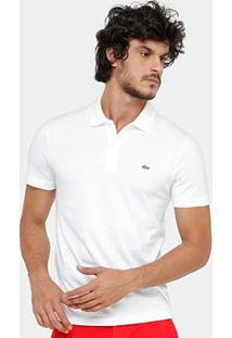Camisa Polo Lacoste Malha Original Fit Masculina - Masculino-Branco