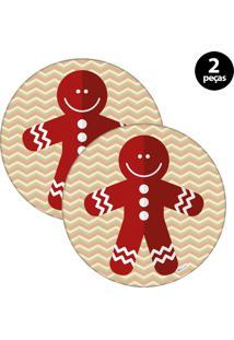 Capa Para Sousplat Mdecore Natal Biscoito Bege 2Pçs