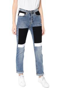 Calça Jeans Calvin Klein Jeans Boyfriend Recortes Azul
